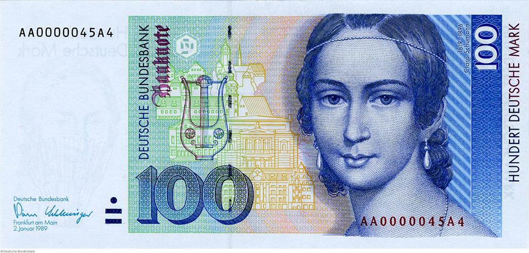 100-DM-Schein mit Komponistin Clara Schumann (1819–1896) als Motiv (Foto: Bundesbank)